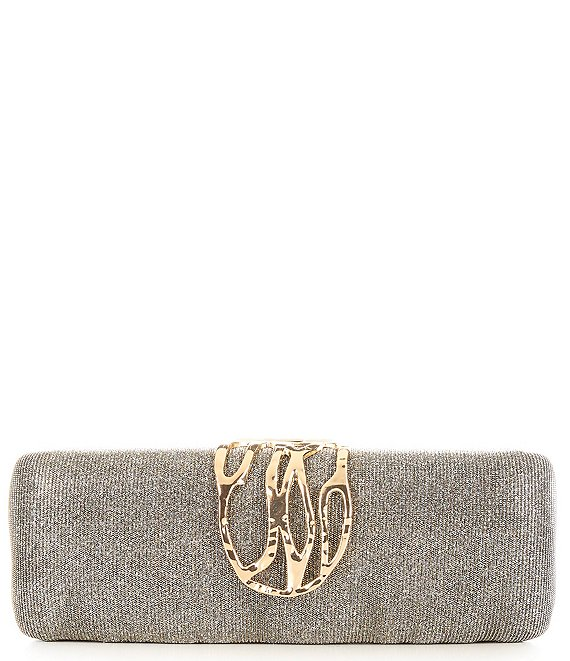 Color:Silver Multi - Image 1 - Hammered Hinge Minaudiere Bag