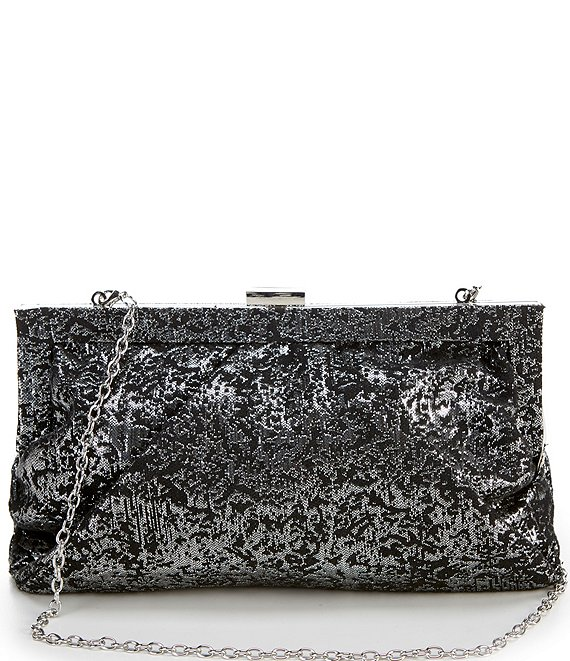 Color:Black - Image 1 - Jacquard Covered Frame Clutch