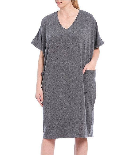 Color:Charcoal Heather - Image 1 - Plus Solid Knit Lounge Caftan