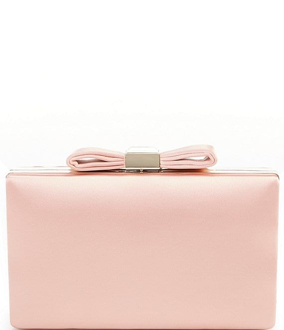 Color:Blush - Image 1 - Satin Bow Top Minaudiere Bag
