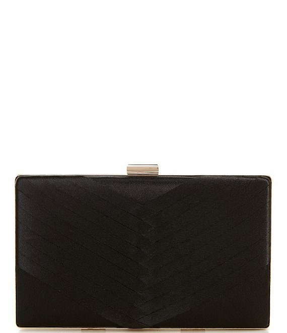 Color:Black - Image 1 - Satin Herringbone Minaudiere