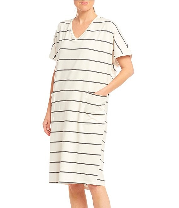 Color:Whiteness - Image 1 - Striped Print Midi Knit Lounge Dress