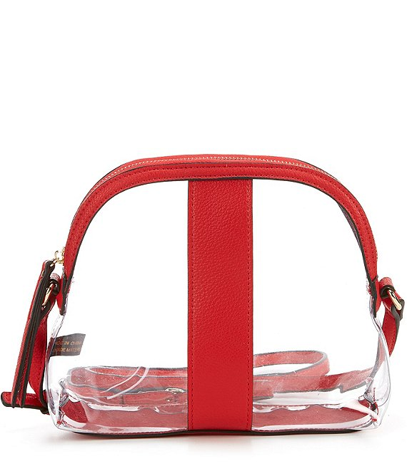 Color:Red - Image 1 - Tessa Clear Dome Crossbody Bag