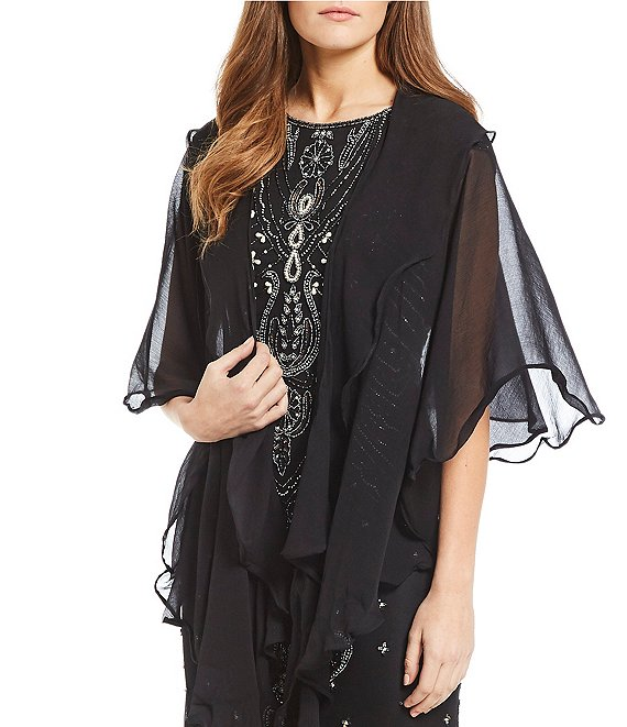 Color:Black - Image 1 - Two Tiered Ruffle Draped Wrap