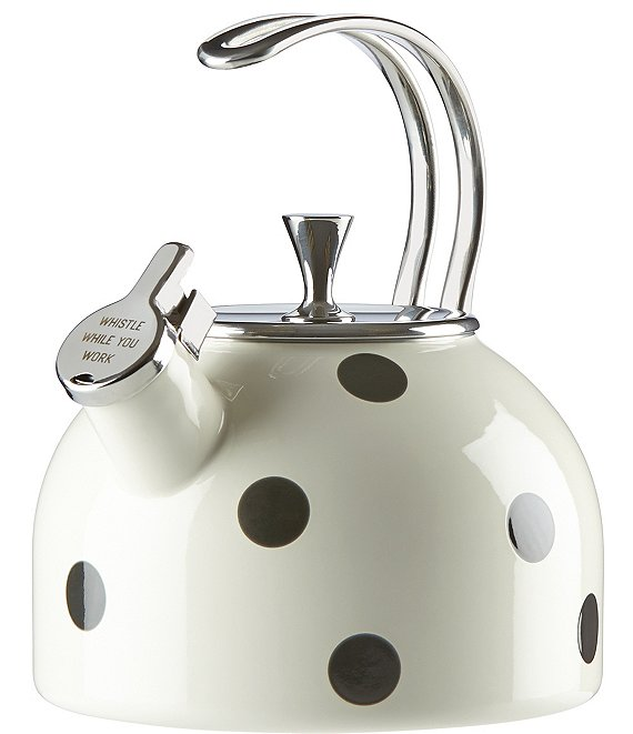 Color:Black/White - Image 1 - All in Good Taste Deco Dot Whistle While You Work Enameled Steel Tea Kettle