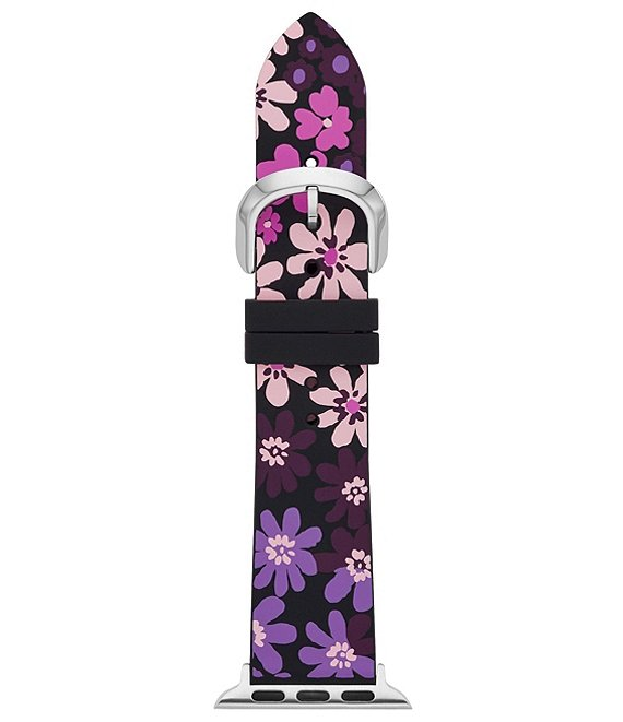 Color:Multi - Image 1 - Black Floral-Print Silicone 38/40mm Apple Watch Band