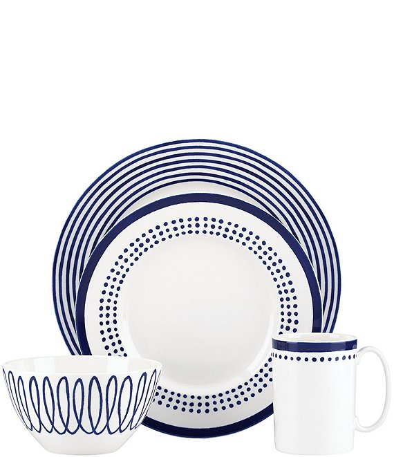 kate spade new york Charlotte Street Blue Porcelain 4-Piece Place Setting
