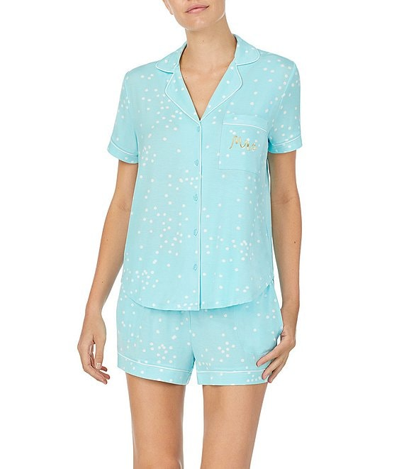 Color:Aqua - Image 1 - Confetti Dot Printed Jersey Shorts & Top Pajama Set