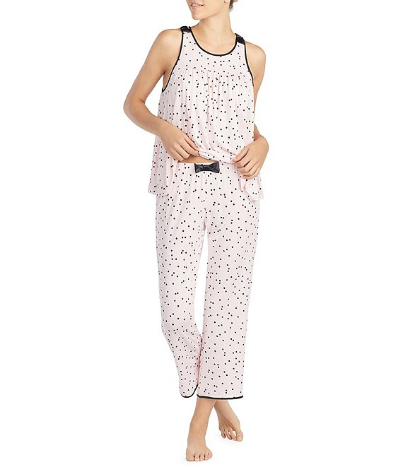 Color:Pink/Black - Image 1 - Dot Print Jersey Cropped Pajamas