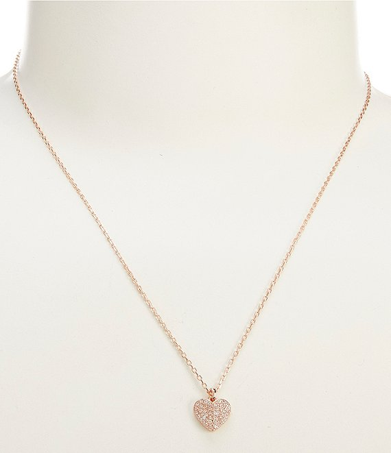 Color:Rose Gold - Image 1 - Heart to Heart Pave Mini Pendant Necklace