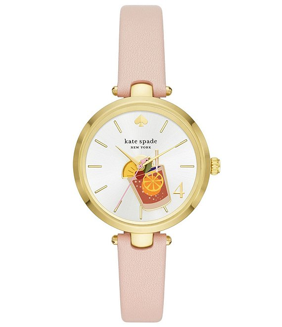 Color:Tan - Image 1 - Holland Three-Hand Blush Leather Cocktail Watch