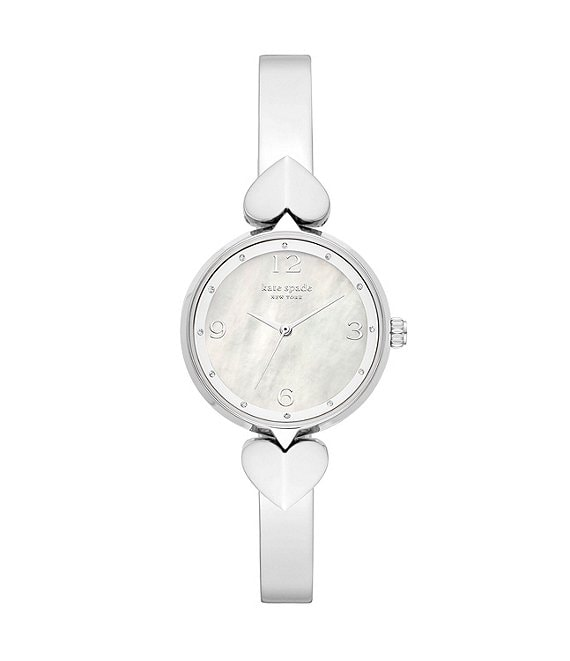 Color:Silver - Image 1 - Hollis Three-Hand Stainless Steel Bangle Watch