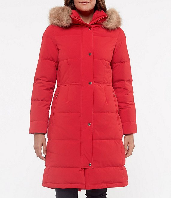 Color:True Red - Image 1 - Long Faux Fur Trim Hooded Down Parka Coat
