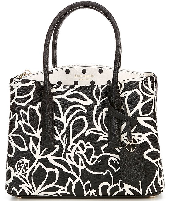 Color:Black Multi - Image 1 - Margaux Floral and Dot Medium Satchel Bag