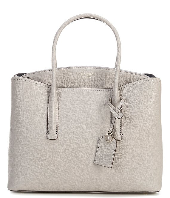 Color:True Taupe - Image 1 - Margaux Leather Zip Large Double Handle Satchel Bag