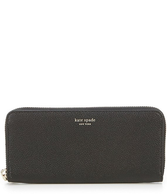 Color:Black - Image 1 - Margaux Refined Grain Leather Slim Zip Around Continental Wallet