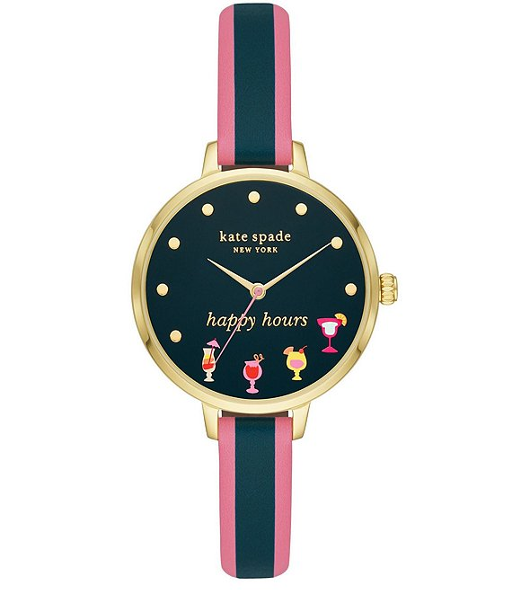 Color:Multi - Image 1 - Metro Three-Hand Multi-Colored Leather Happy Hours Watch