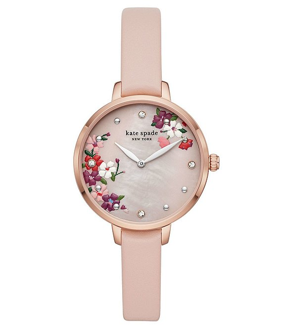 Color:Tan - Image 1 - Metro Two-Hand Floral Motif Blush Leather Watch