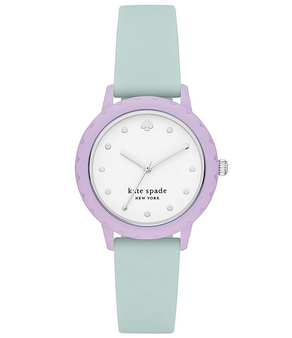 Color:Multi - Image 1 - Morningside Three-Hand Mint Silicone Watch