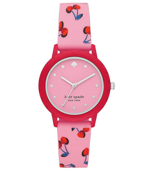Color:Pink - Image 1 - Morningside Three-Hand Pink Cherry-Print Silicone Watch