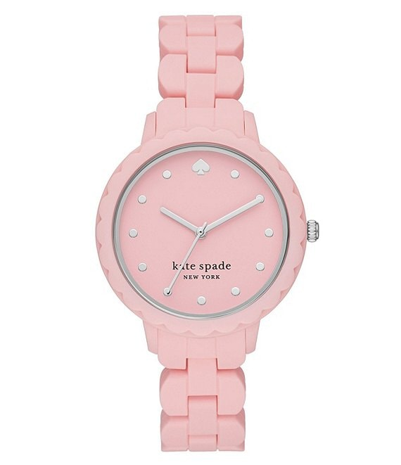 Color:Pink - Image 1 - Morningside Three-Hand Pink Silicone Watch