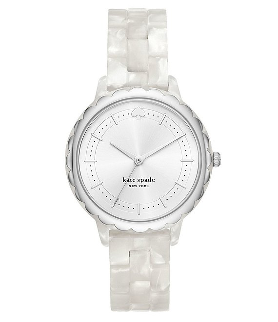 Color:White - Image 1 - Morningside Three-Hand White Acetate Watch