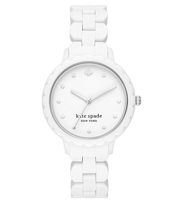 Color:White - Image 1 - Morningside Three-Hand White Silicone Watch