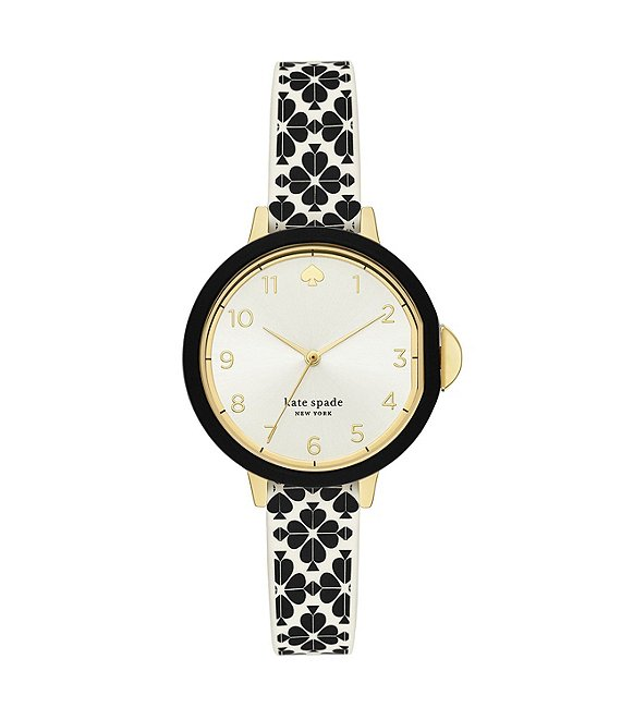 kate spade new york Park Row Cream Dial Three-Hand Flower Print Silicone Watch