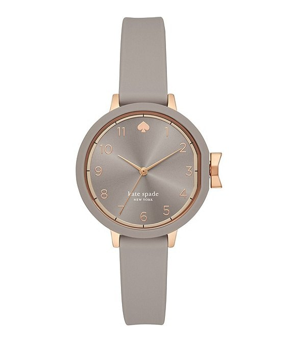 kate spade new york Park Row Three-Hand Warm Taupe Silicone Watch