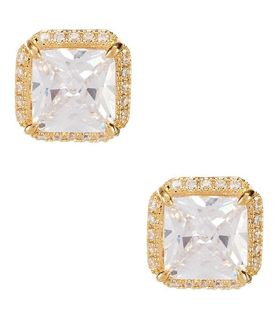 Color:Gold/Crystal - Image 1 - Pavé & Princess-Cut Cubic Zirconia Stud Earrings