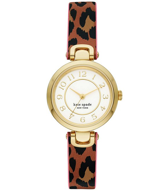 Color:Animal - Image 1 - Rainey Park Three-Hand Leopard-Print Reversible Leather Watch