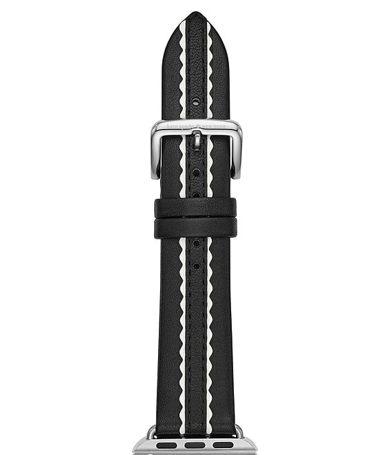 Color:Black/White - Image 1 - scallop Black & White Leather 38/40 mm Apple Watch® strap