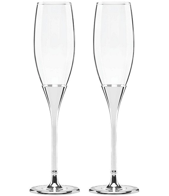 a4989acc9545 kate spade new york Simply Sparkling Silver-Plated Flute Pair   Dillard's