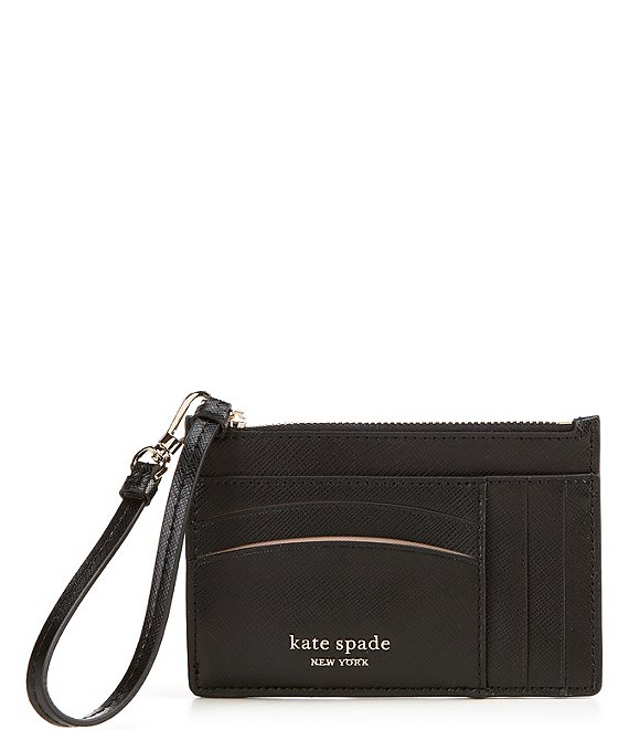 Color:Black - Image 1 - Spencer Leather Zippered Card Case Wristlet