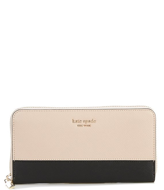 Color:Warm Beige/Black - Image 1 - Spencer Colorblock Leather Zip Around Continental Wallet