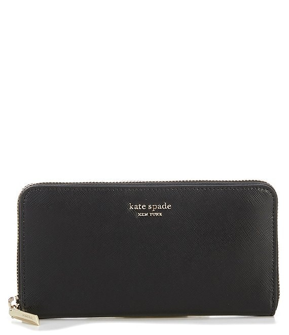 Color:Black - Image 1 - Spencer Leather Zip Around Continental Wallet