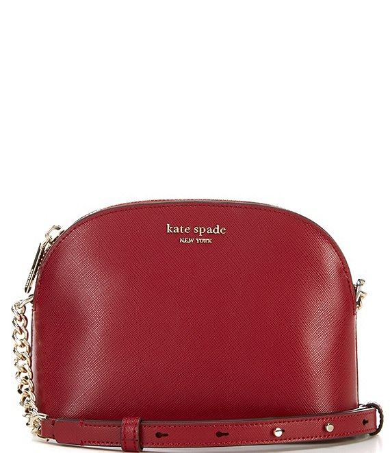 Color:Red Currant - Image 1 - Spencer Small Leather Domed Crossbody Bag