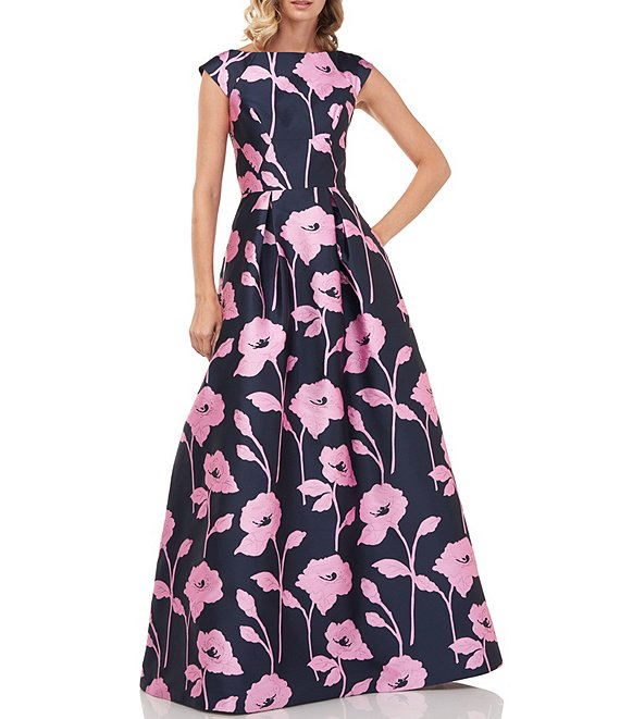 Color:Navy/Pink - Image 1 - Addison Boat Neck Textured Floral Jacquard Cap Sleeve Ball Gown