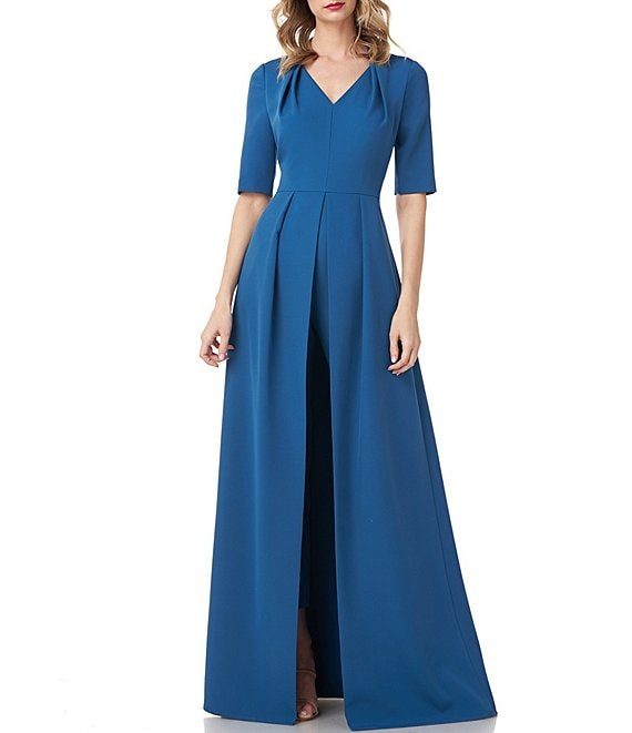 Color:Peacock - Image 1 - Alessandra Stretch Crepe V-Neck Elbow Sleeve Walk Thru Jumpsuit