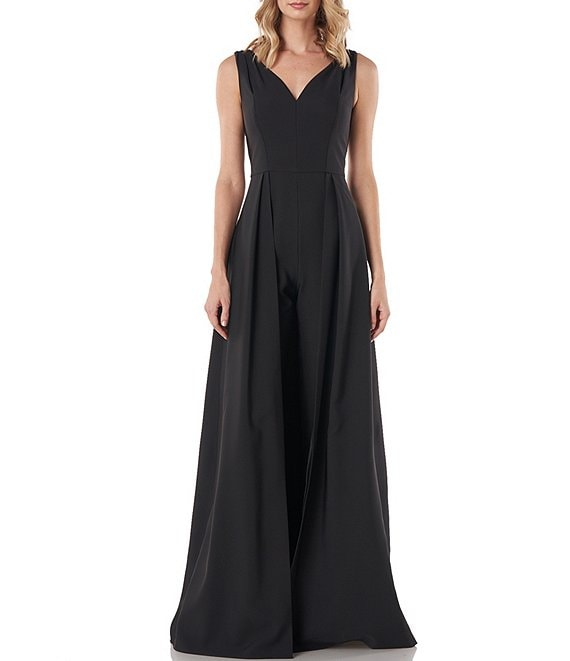 Color:Black - Image 1 - Avery V-Neck Sleeveless Stretch Crepe Walk-Thru Jumpsuit