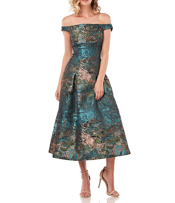 Color:Teal Multi - Image 1 - Carina Abstract Jacquard Off-The-Shoulder Cap Sleeve Fit & Flare Midi Dress