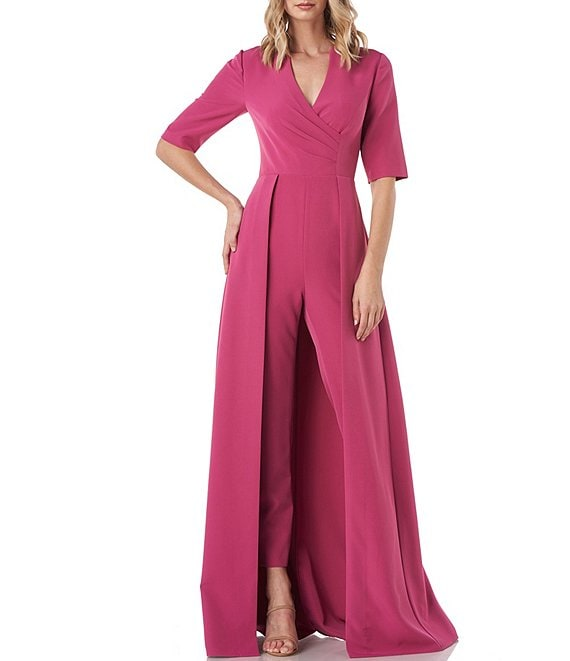 Color:Berry - Image 1 - Faith Stretch Crepe Elbow Sleeve Walk Thru Jumpsuit