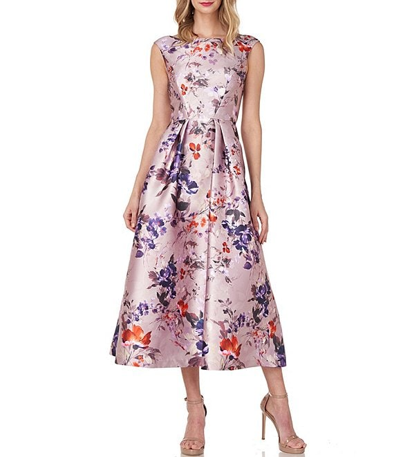Color:Orchid Multi - Image 1 - Harley Sleeveless Floral Print Fit & Flare Mikado Midi Dress