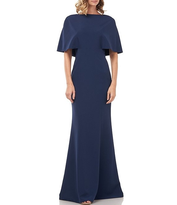 Color:Prussian Blue - Image 1 - Monroe Capelet Stretch Crepe Gown