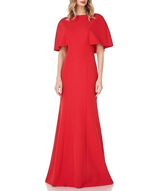 Color:Ruby Red - Image 1 - Monroe Capelet Stretch Crepe Mermaid Gown