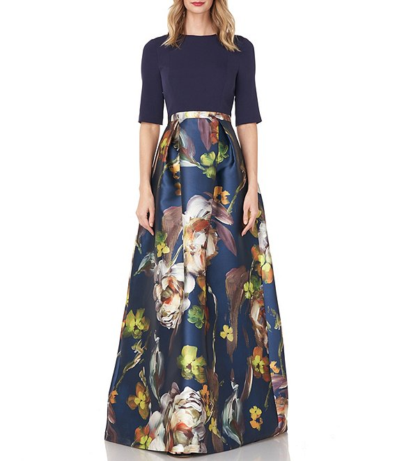 Color:Navy Multi - Image 1 - Sabrina Floral Printed Elbow Sleeve Mikado Ball Gown