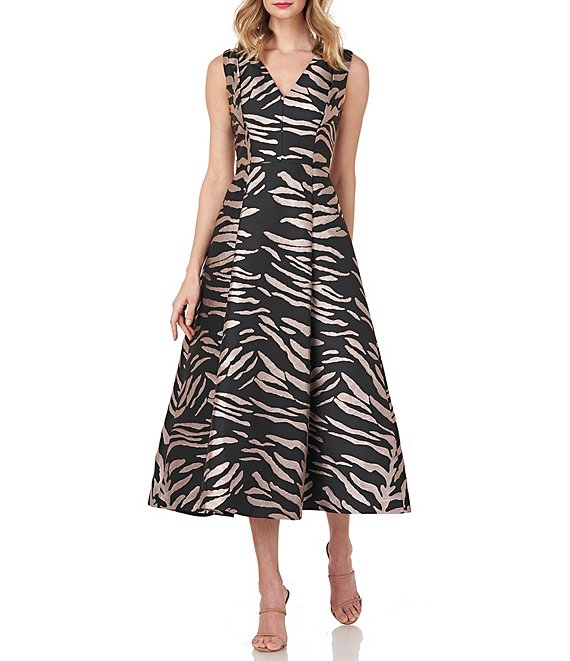 Kay Unger Tibby Animal Jacquard V-Neck Sleeveless Midi Party Dress