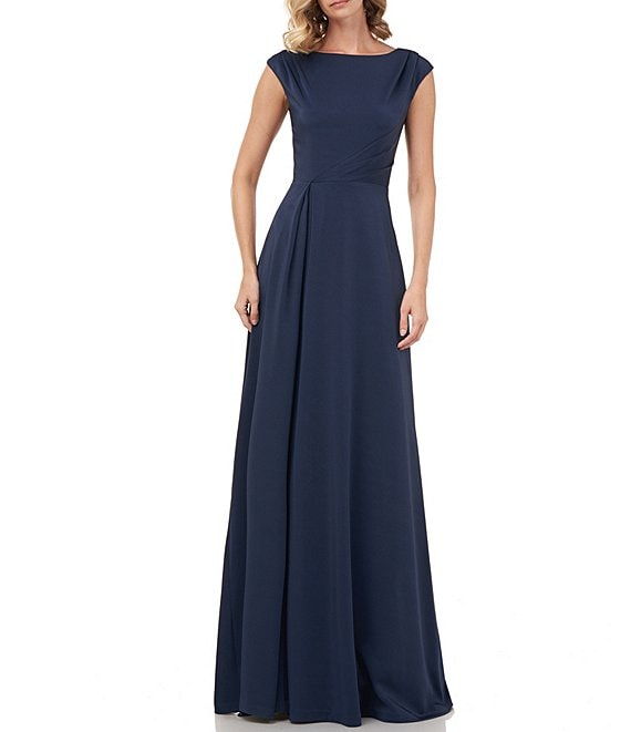 Color:Prussian Blue - Image 1 - Whitney Stretch Faille Silk Cap Sleeve A-Line Gown