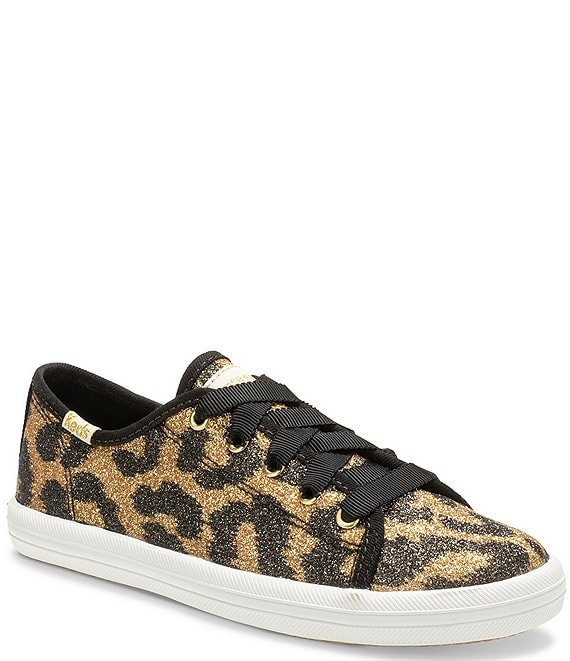 Color:Black/Gold - Image 1 - x kate spade new york Girls' Leopard Print Kickstart Sneakers (Youth)