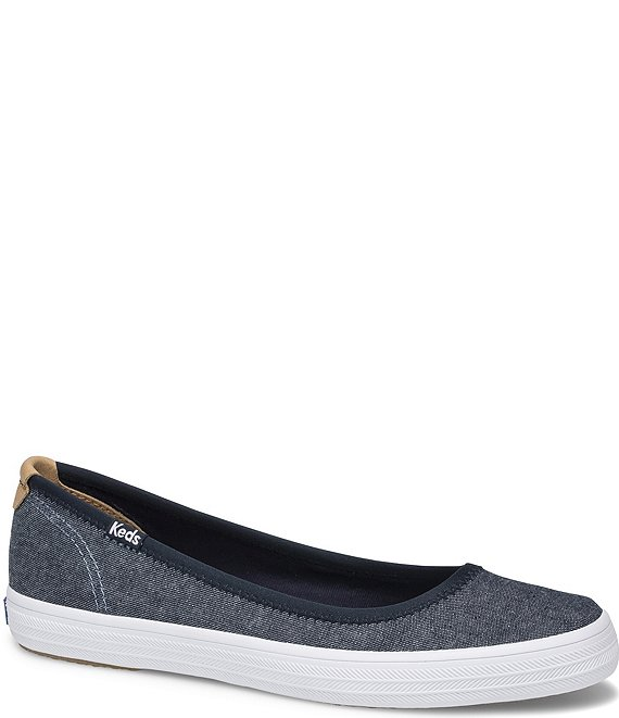 Color:Denim - Image 1 - Bryn Canvas Chambray Slip On Flats